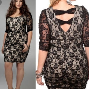 Lace Overlay Ruched Open Back Floral Bodycon